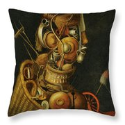 An Anthropomorphic Still Life With Pots Pans Cutlery A Loom And Tools Throw Pillow