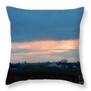 An April Sunset Over An Amish Farm Throw Pillow