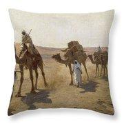 An Arab Caravan Throw Pillow