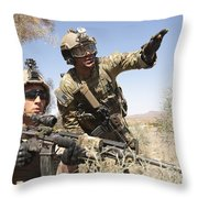 An Army Soldier Informs A Marine Throw Pillow