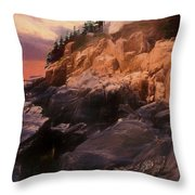 An Art Photograph Of  Bass Harbor Lighthouse,acadia Nat. Park Ma Throw Pillow