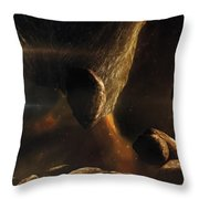 An Asteroid Field Next To An Earth-like Throw Pillow