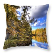 An Autumn Day At Woodcraft Camp Throw Pillow