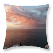 An Early Morning View From A Balcony In Positano, Campania, Ital Throw Pillow