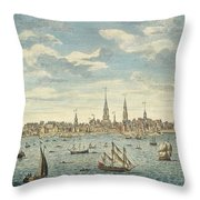 An East Prospective View Of The City Of Philadelphia Throw Pillow