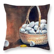 An Egg Mishap Throw Pillow by Arline Wagner