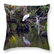 An Egrets World Throw Pillow