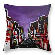 An Empty Street At 3 A.m. Throw Pillow