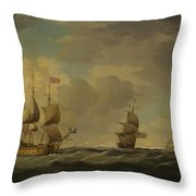 An English Flagship Under Easy Sail In A Moderate Breeze Throw Pillow