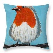 An English Robin Throw Pillow