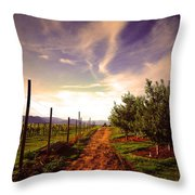 An Evening By The Orchard Throw Pillow