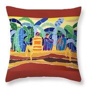 An Evening Near The Banana Plantation Throw Pillow