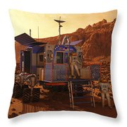 An Explorer Departs A Manned Rover Ina Throw Pillow