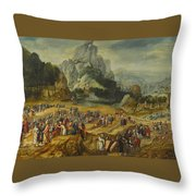 An Extensive Landscape With The Preaching Of Saint John The Baptist And The Baptism Of Christ Throw Pillow
