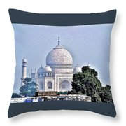 An Extraordinary View - The Taj Mahal Throw Pillow