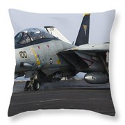 An F-14d Tomcat Launches Off The Flight Throw Pillow