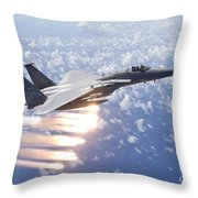 An F-15 Eagle Releases Flares Throw Pillow