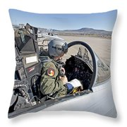 An F-15 Pilot Performs Preflight Checks Throw Pillow by HIGH-G Productions
