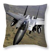 An F-15e Strike Eagle Aircraft Throw Pillow