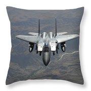 An F-15e Strike Eagle Flies Watch Throw Pillow