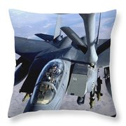 An F-15e Strike Eagle Refuels Over Iraq Throw Pillow