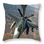 An F-16 Fighting Falcon Receiving Fuel Throw Pillow