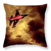 An F-16 Flies Through Hell Throw Pillow