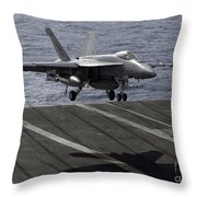 An Fa-18e Super Hornet Prepares To Land Throw Pillow by Stocktrek Images