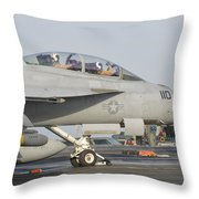An Fa-18f Super Hornet Ready To Launch Throw Pillow