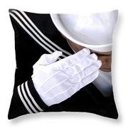 An Honor Guard Member Renders A Salute Throw Pillow