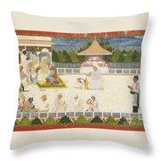 An Illustration Depicting Maharaja Ajit Singh Instructing A Scribe Throw Pillow