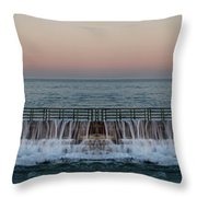 An Imagined Symmetrical Seawall As A Wave Tops It Throw Pillow