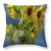 An Impression Of Sunflowers In The Sun Throw Pillow