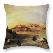 An Indian Pueblo Throw Pillow by Thomas Moran