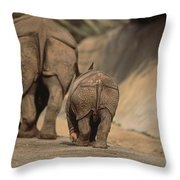 An Indian Rhinoceros And Her Baby Throw Pillow