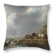 An Inn By A Frozen River Throw Pillow