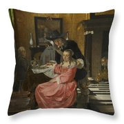 An Interior With A Woman Refusing A Glass Of Wine Throw Pillow