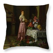 An Interior With Fruit And Flowers Throw Pillow