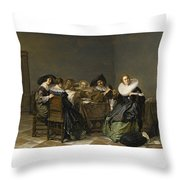 An Interior With Musicians Seated Around A Table  Throw Pillow