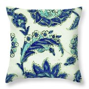 An Iznik Blue And White Pottery Tile, Turkey, 17th Century, By Adam Asar, No 18b Throw Pillow