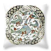 An Iznik Polychrome Pottery Dish With Birds Throw Pillow