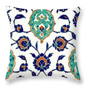 An Iznik Polychrome Tile, Turkey, Circa 1575, By Adam Asar, No 23h Throw Pillow