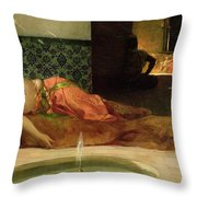 An Odalisque In A Harem Throw Pillow by Benjamin Constant