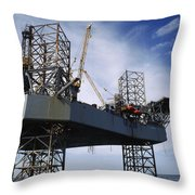 An Oil And Gas Drilling Platform Throw Pillow