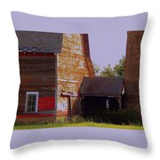 An Old Barn And Silo Throw Pillow