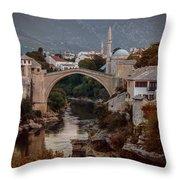 An Old Bridge In Mostar Throw Pillow