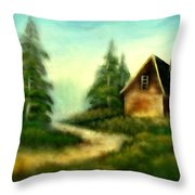An Old Cabin In The Wild Throw Pillow