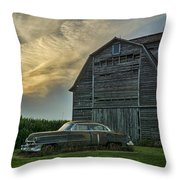 An Old Cadillac By A Barn And Cornfield Throw Pillow