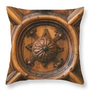 An Old Carved Wooden Door Throw Pillow