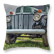An Old Green Ford Truck Throw Pillow